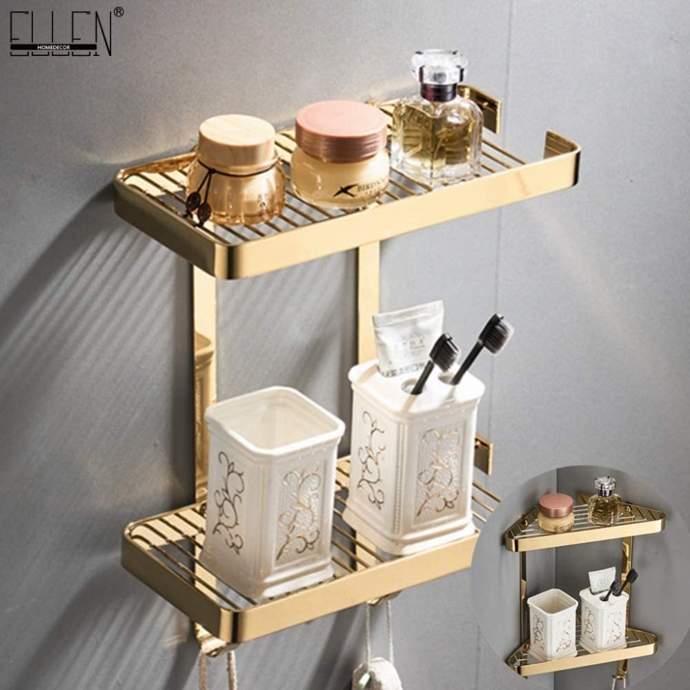 Mercury Group Gold Bathroom Corner Shelves 2 Layer Solid Copper Wall Bathroom Shelf Shampoo Storage Accessories Shelves Elf45 Color Rectangle 2 Layer Amazon Com
