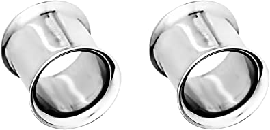 Forbidden Body Jewelry Surgical Steel Ear Gauges 8mm 3mm Solid Double Flared Saddle Plugs