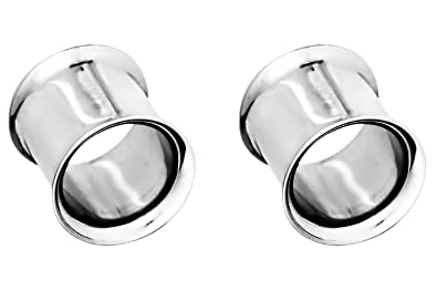 PAIR-Black w//White Inset Acrylic Double Flare Ear Tunnels 08mm//0 Gauge Body Jew