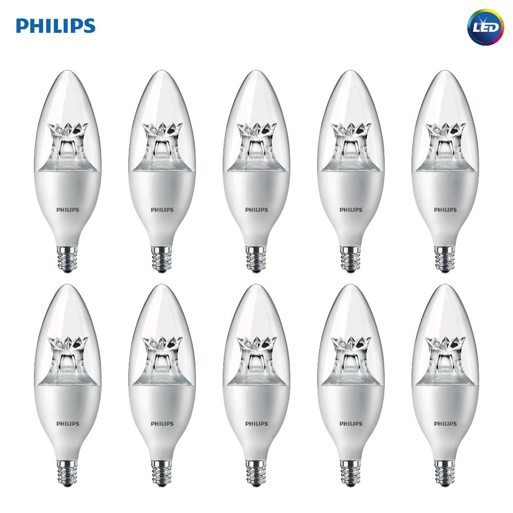 Philips LED Dimmable B12 Soft White Light Bulb with Warm Glow Effect 500-Lumen, 2700-2200-Kelvin, 7-Watt (60-Watt Equivalent), E12 Base, Clear, 10-Pack