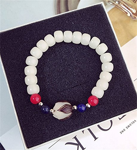 - Wening Natural White Bodhi Seed Beads Seed Carved Lotus Flower Unique Quartz Crystal Wrap Opal Bracelet (White)
