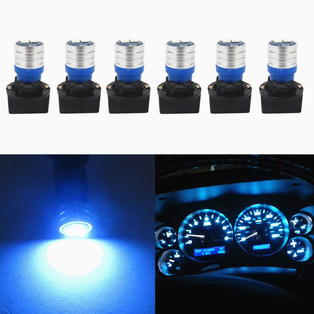 WLJH W5W 194 T10 Led Bulb PC195 PC194 PC168 Twist Socket Dashboard Instrument Cluster Interior Lights Map Dome Light Bulbs Dash Lights 12V Extremely Bright (Ice Blue,Pack of 6)