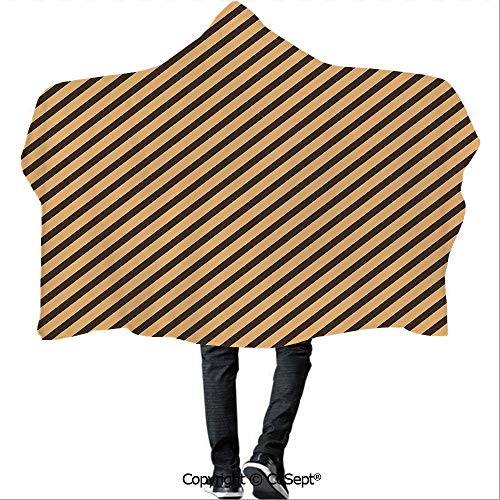 SCOCICI Wearable Hooded Blanket,Brown Toned Diagonal Lines Stripes Modern Geometrical Image Art Print Decorative,for Adults and Children(59.05x51.18 inch),Sand Brown Chocolate ()