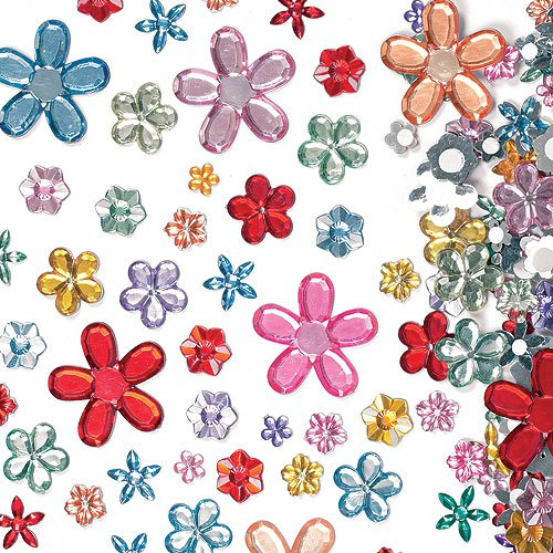 sive Acrylic Flower Jewels Assorted Designs and Sizes for Collage, Card Making, Children's Arts & Crafts (Pack of 180) ()
