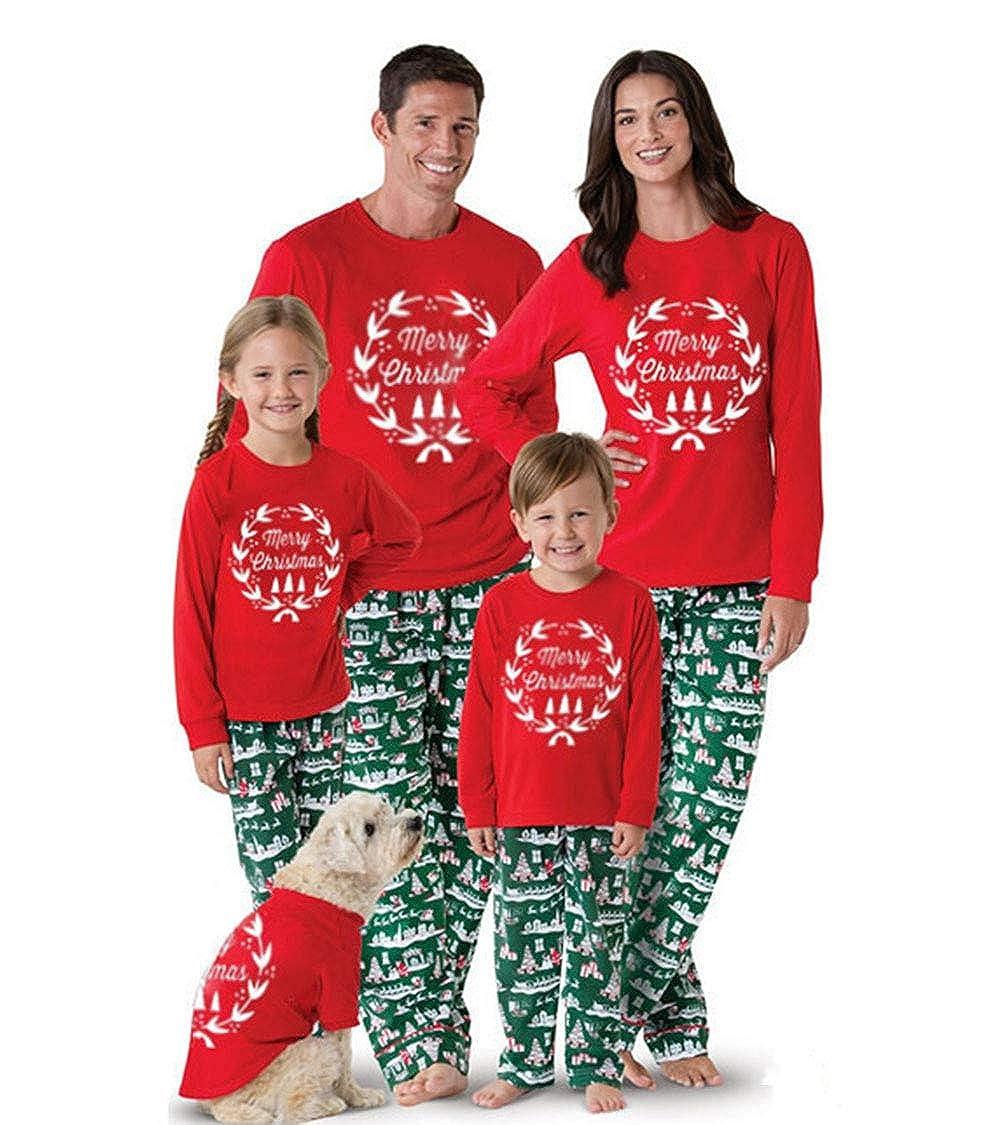 Merry Christmas Family Matching Pajamas Outfits Long Sleeve Shirt Blouse Tops+Long Pants Sleepwear Nightwear