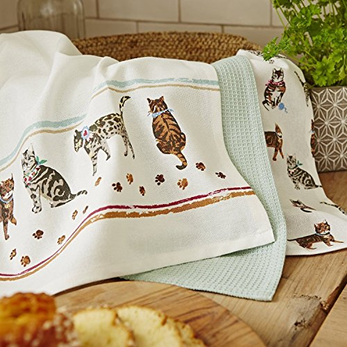 Set of 3 Cooksmart Cats in the Kitchen Tea Towels