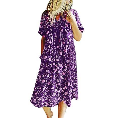 Vestidos de Playa SUNNSEAN Mujer Vestido Verano Estampado Floral ...