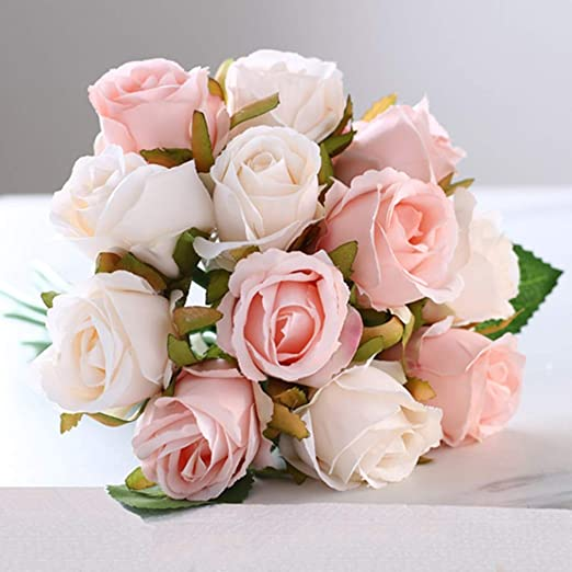 HTTJH Simulación de Rosa Falsa decoración de Flores Mesa Boda (sin ...