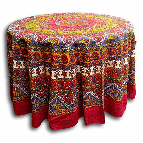 "India Arts Handmade 100% Cotton Mandala Floral Elephant Tablecloth 90"" Round with a Beautiful 5"" lace All Around (Red)"