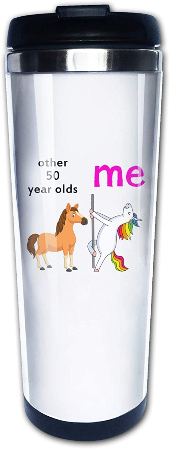 Funny 50th Birthday For Her Him, Other 50 Year Olds Me Unicorn,Travel Mug Tumbler With Lids Thermos Coffee Cup Vacuum Insulated Flask Stainless Steel Hydro Water Bottle 15 oz