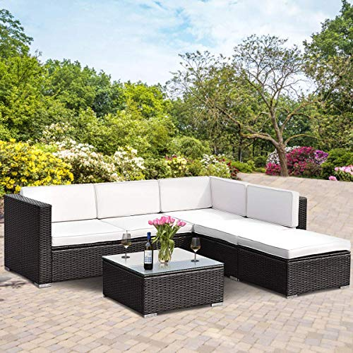 - Tangkula 4 Piece Outdoor Patio Furniture Set, Garden Poolside Lawn Backyard Wicker Rattan Sectional Sofa Sets, 2 Loveseats with One Arm and Glass Top Coffee Table Conversation Set (Brown)