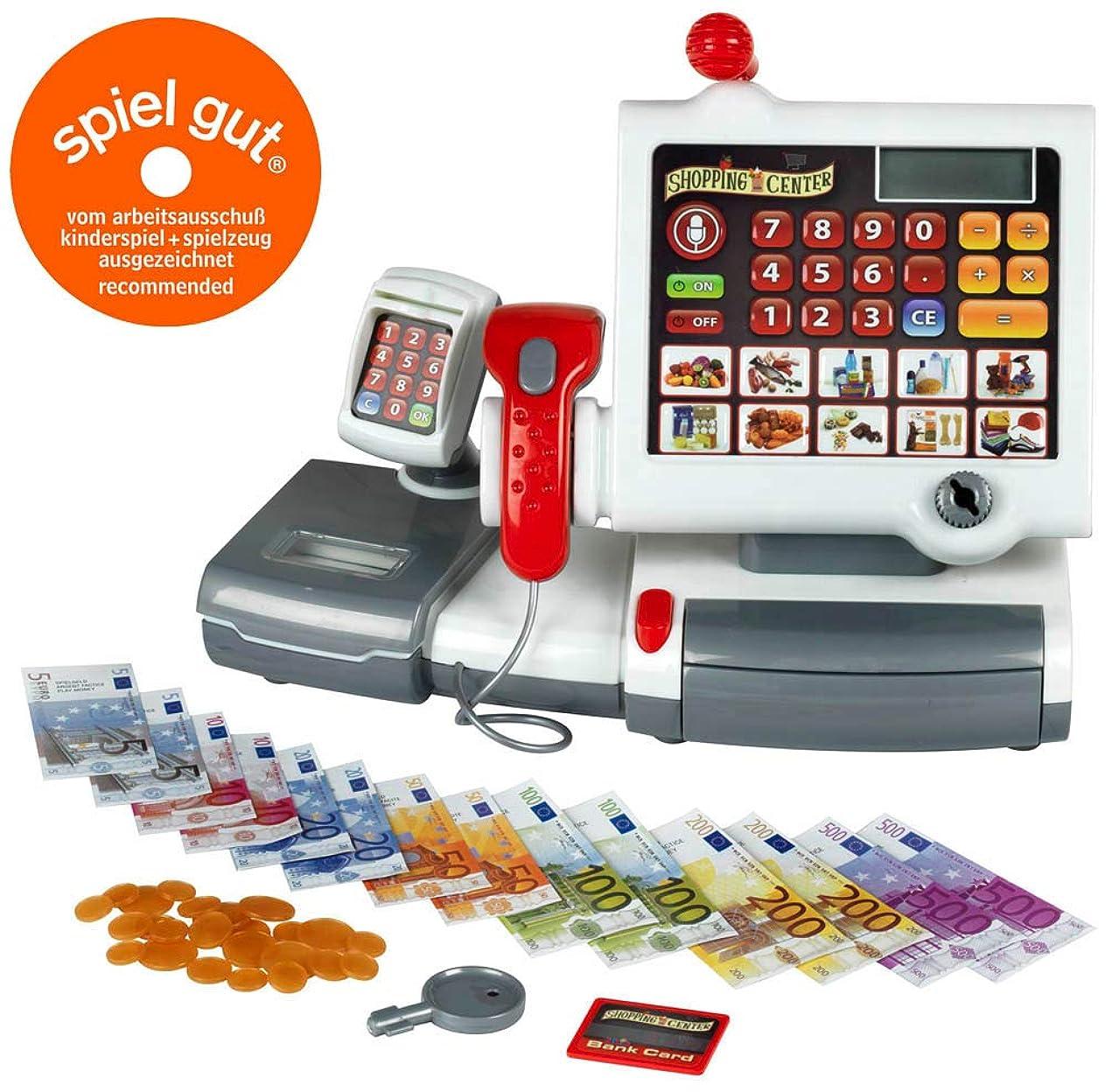 もも紛争HJXDJP-子供の知育玩具 ままごと遊びをするおもちゃ 多機能スーパーマーケットのレジカウンター アウトドアデザート屋 アナログショッピングや支払いのゲームリッチキャンディー、菓子、ジュース、キャッシュレジスタやその他の付属品 (L*H*-W=56*86*34)