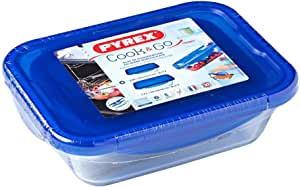 Pyrex Cook and Go Glass Containers with Blue BPA Free 4 Latch Leak Proof Plastic lids (4 Piece Set), 0.8L and 1.7L