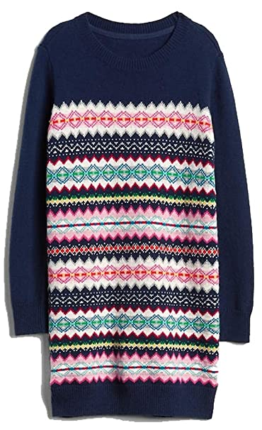 d0f867a29960 Image Unavailable. Image not available for. Color  Gap Kids Girls Navy Fair  Isle Sweater Dress ...