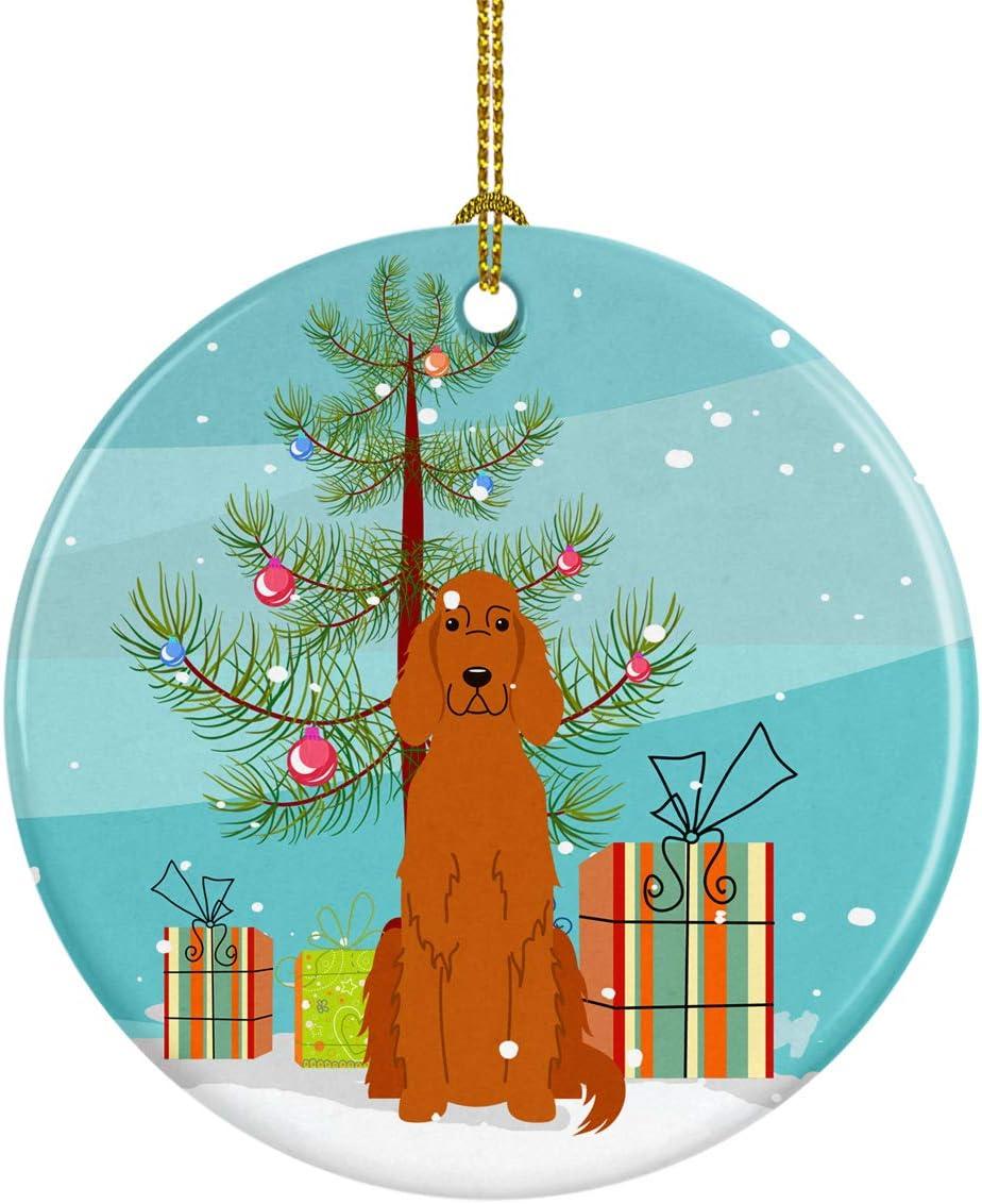 Caroline's Treasures BB4189CO1 Merry Christmas Tree Irish Setter Ceramic Ornament, 3 in, Multicolor