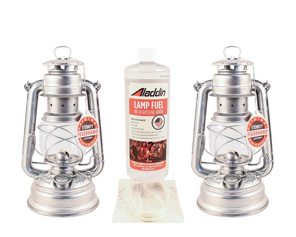 Feuerhand Hurricane Lantern Kit - German Made Oil Lamps - 2 Lanterns, Lamp Oil, Extra Wick