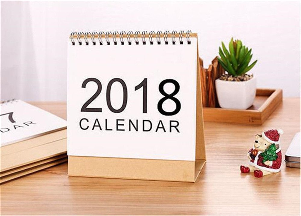 2018 Desktop Flip Calendar Month To View Stand Up Office Home Table Planner Christmas Calendar Notebook New Year's Gift (15x16cm) Qiuda