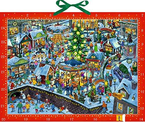 Wimmeliger Weihnachtsmarkt. Wand-Adventskalender Joachim Krause Coppenrath F Briefchen zum Selberfüllen