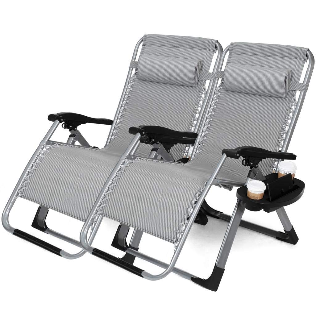 "22.8"" Oversized Width Seat 350LBS Capacity Set of 2 Pack Zero Gravity Outdoor Lounge Chair w/Cup Holder with Mobile Device Slot Adjustable Folding Patio Reclining Chair W/Snack Tray"