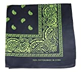 Bandanas By The Dozen 100% Cotton 12-Pack 22'' x 22'' - Paisley Black/Green