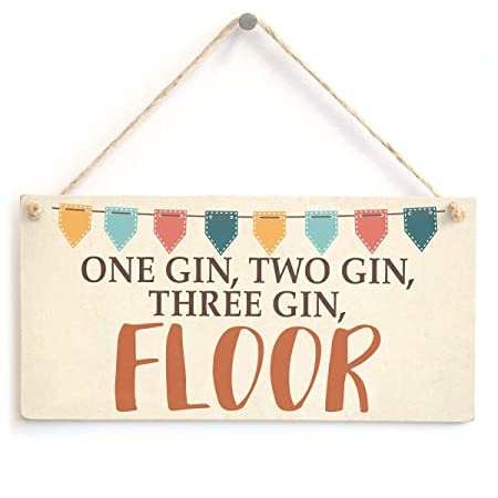 Mr.sign One Two Three Floor Gin Cartel de Pared Madera Placa ...
