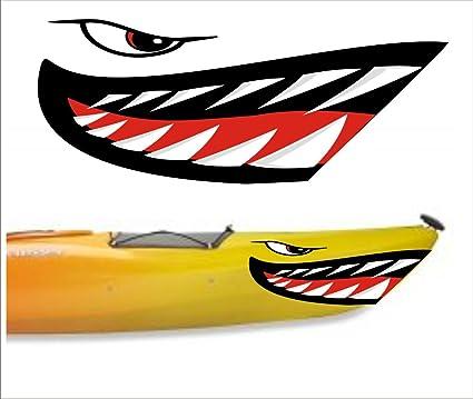 Amazon.com: Shark Teeth Mouth Decal Stickers Kayak Canoe Jet Ski ...