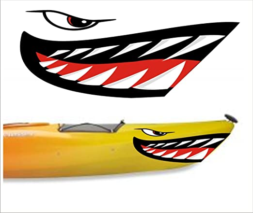 Amazon com shark teeth mouth decal stickers kayak canoe jet ski hobie dagger ocean boat sports outdoors