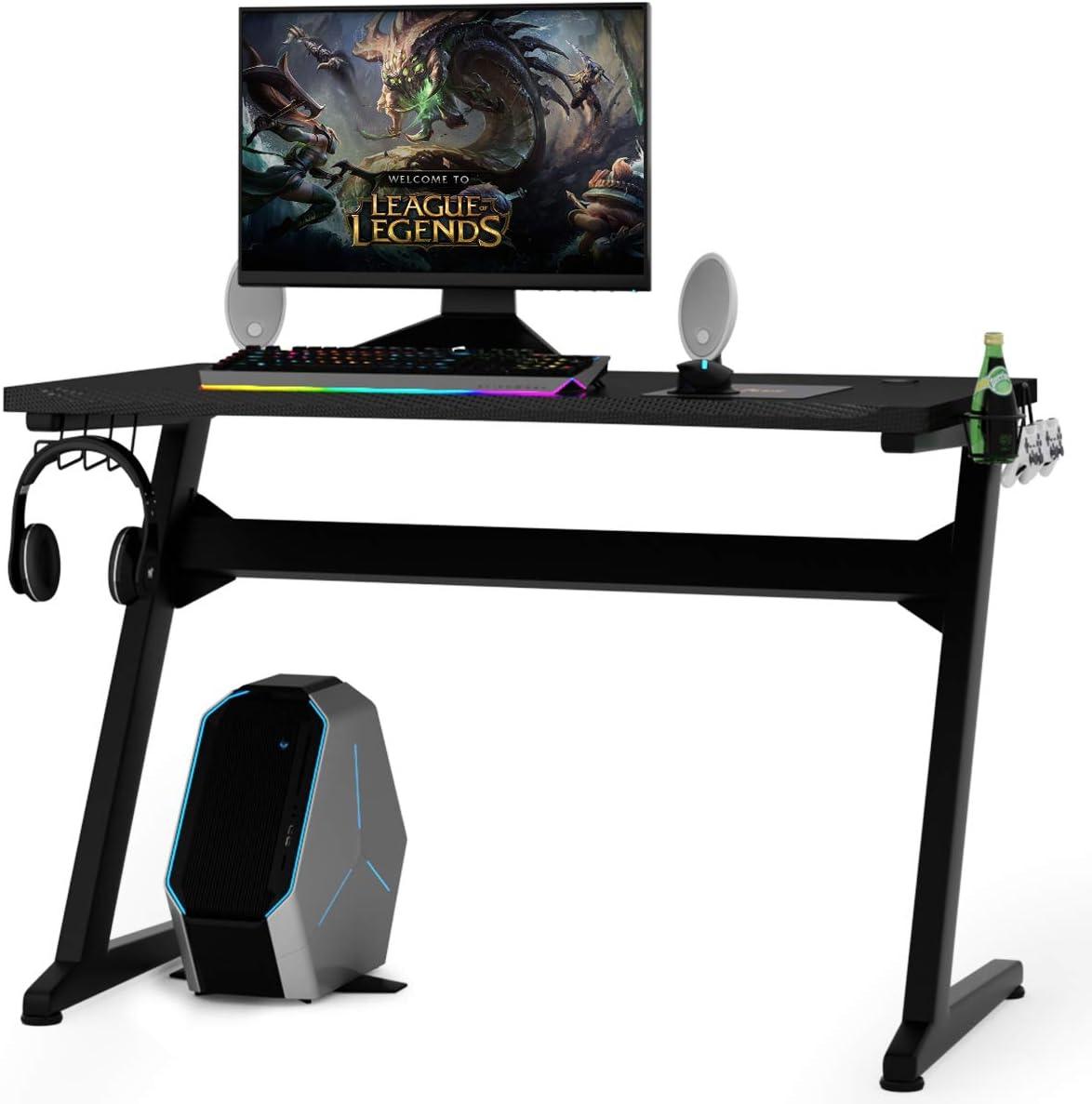 schwarz und rot COSTWAY Z-f/örmige Gaming Tisch PC Tisch mit Becherhalter Schreibtisch f/ür Zuhause oder B/üro Kopfh/örerhaken und Boxenst/ändern Computertisch