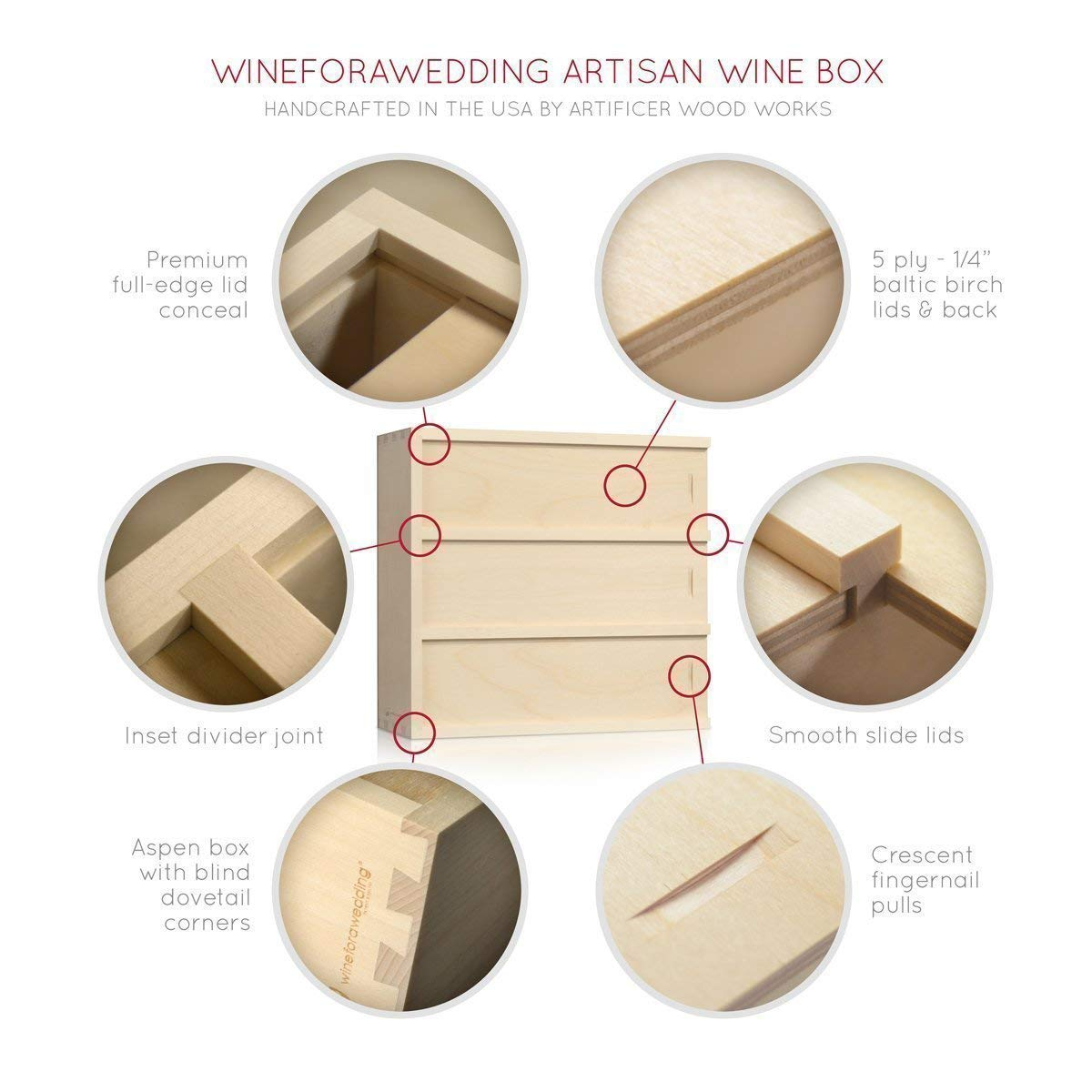 Custom Anniversary Wine Box - Family Vintage // Wedding Gift for the Couple - by WineforaWedding® Wedding Wine Box by Artificer Wood Works (Image #7)
