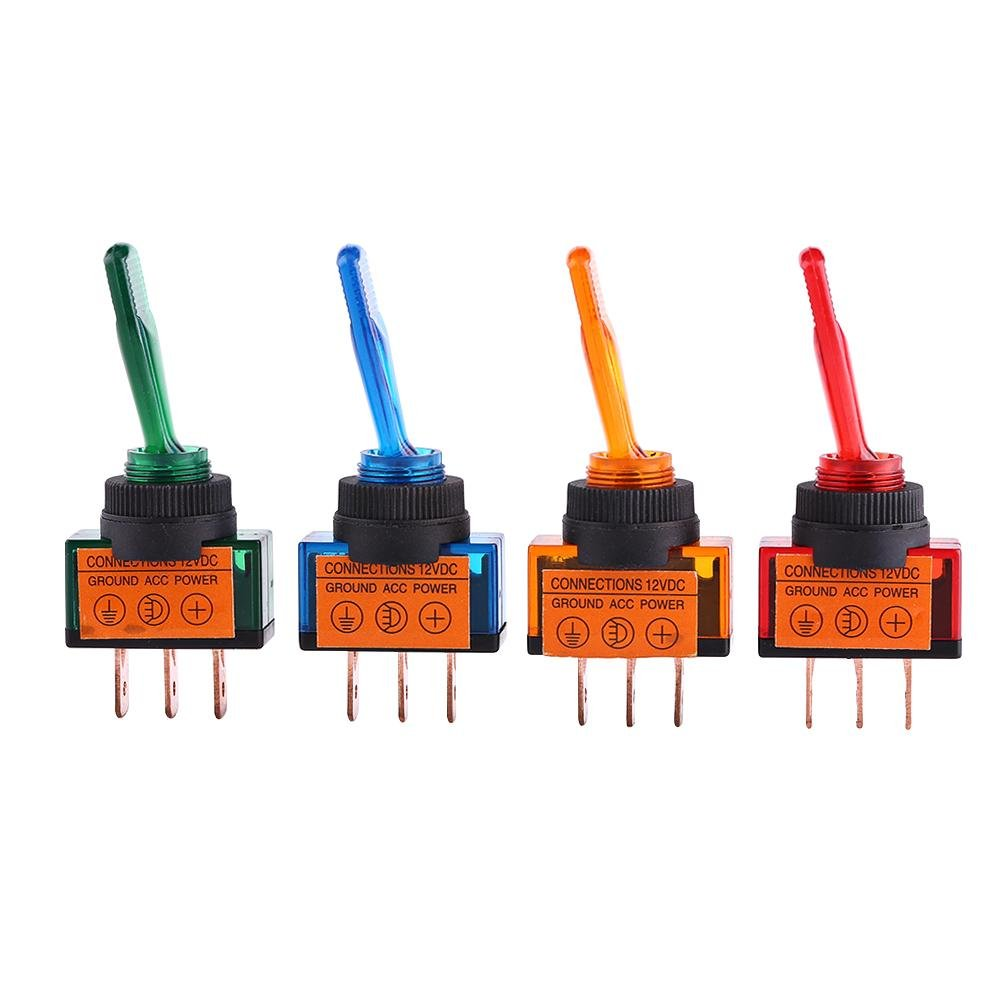 Cuque 4 Pcs 12V Toggle Switch with LED lamp Universal 3 Pin 20A LED On//Off SPST Rocker Switch for Car Auto Truck Boat Red Green Blue Orange Color