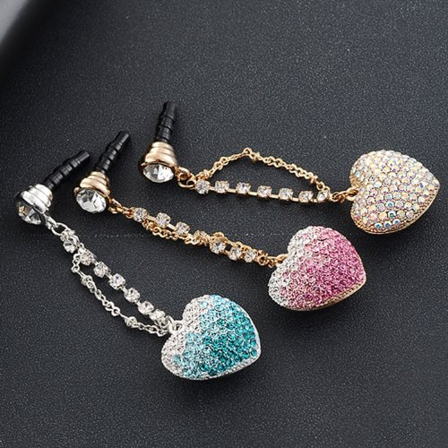 CJB Dust Plug / Earphone Jack Accessory 3D Heart Rhinestone White for iPhone 4 4s S4 5 All Device with 3.5mm Jack (US Seller)