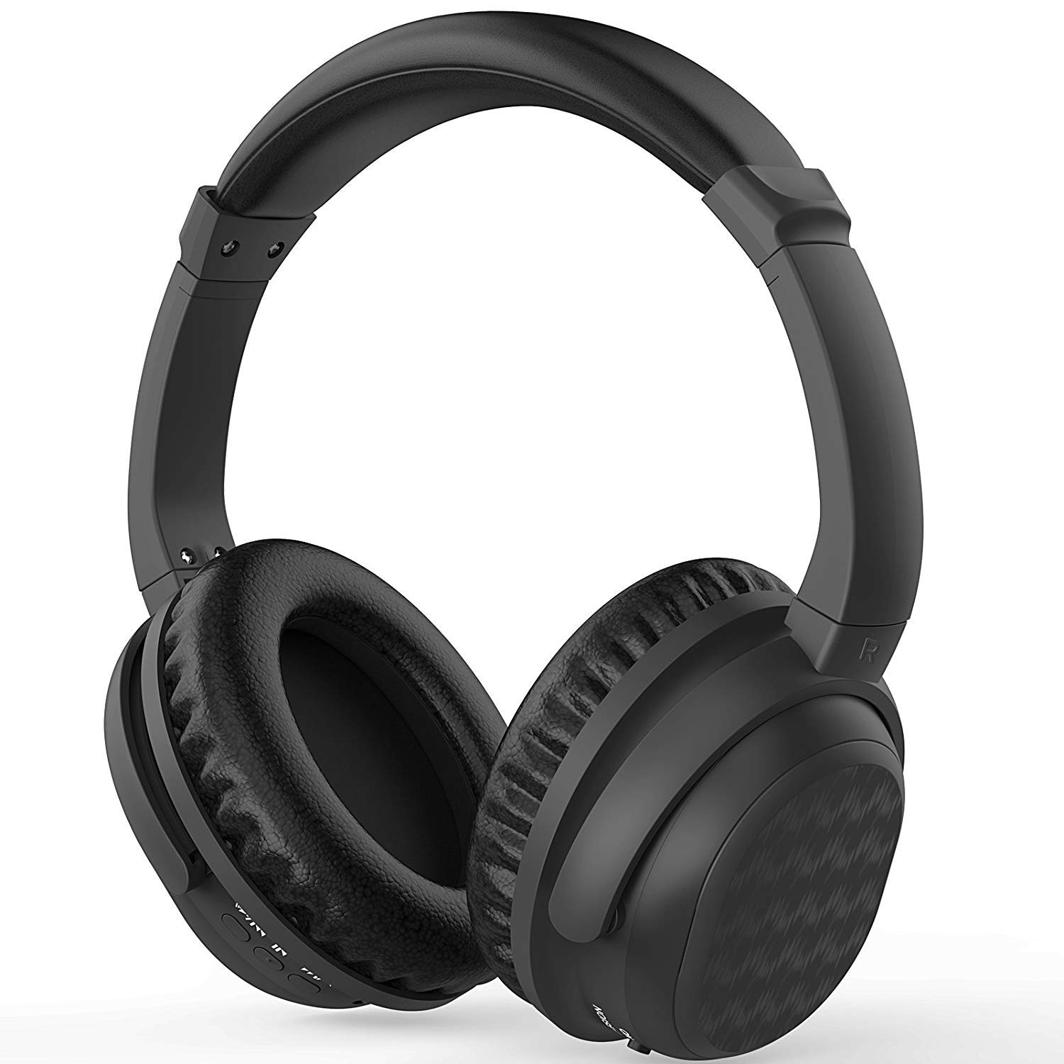 Yakalla Active Noise Cancelling Headphones, Over-Ear Stereo Earphones with Microphone and Volume Control, Quick Charge, Lightweight Foldable Protein Earpads for Travel Work