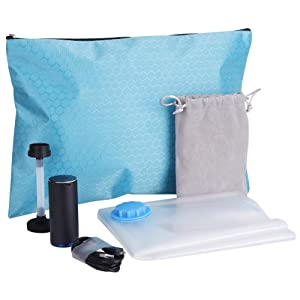 A Travel Vacuum Storage Bags with USB Powered Electric Pump Reusable Space Saver Bags for Clothes