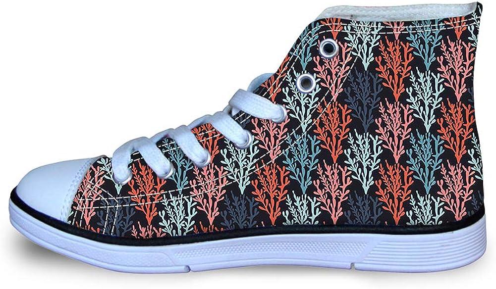 Canvas High Top Sneaker Casual Skate Shoe Boys Girls Colorful Seaweed