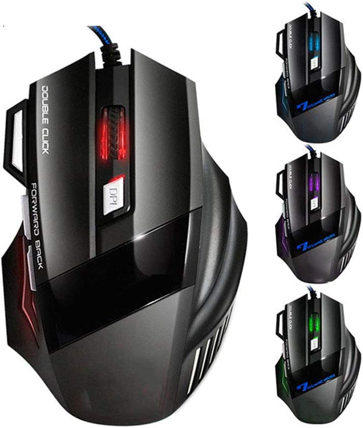 WANGJIANGLI USB Wired Gaming Mouse Ergonomic Mechanical Mice with 7 Buttons for PC Computer Laptop Gaming Players,B