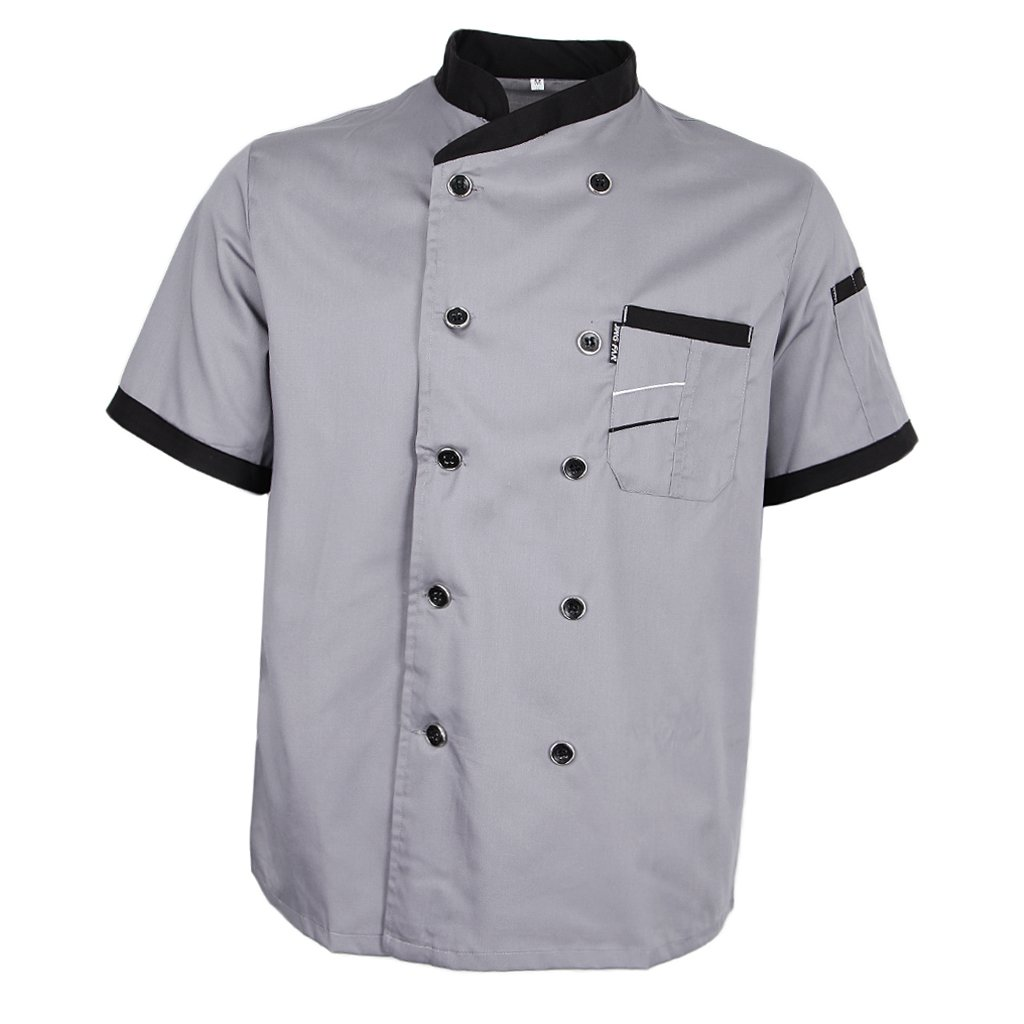 Prettyia Unisex Summer Breathable Executive Chef Jacket Coat Kitchen Bakery Uniform Short Sleeves 5 Colors Chef Apparel M-2XL - Gray, XL
