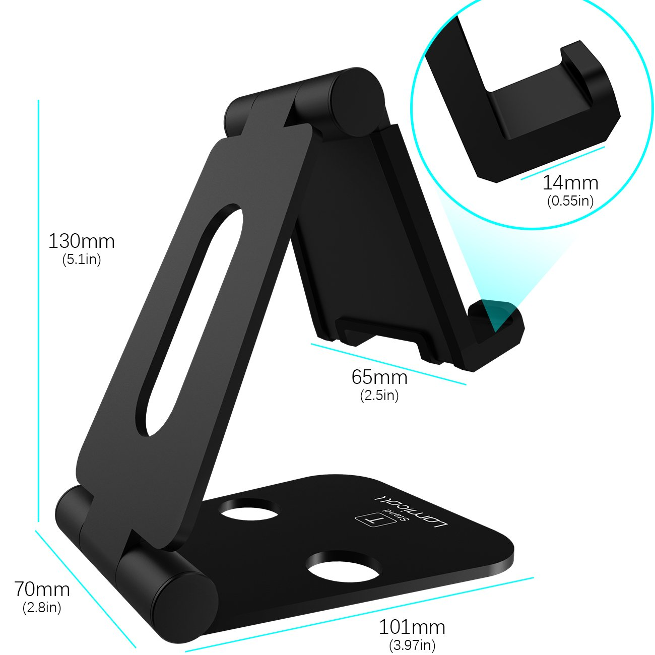 Multi-Angle Stand for Nintendo Switch, Lamicall Playstand : Cell Phone Tablet Video Game Holder Dock Compatible with Phone 7 6 Plus 5, Accessories, iPad and Tablets (4-10'') Foldable Adjustable- Black by Lamicall (Image #6)