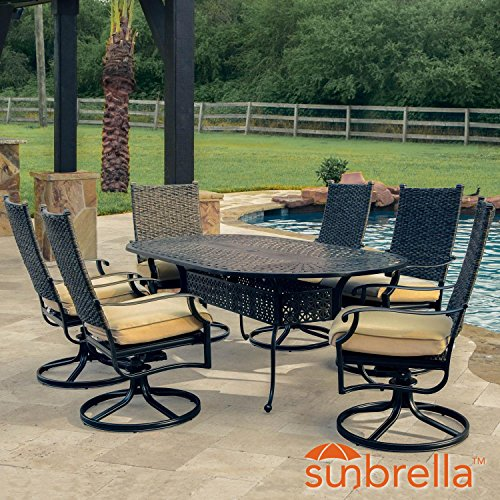 Lakeview Outdoor Designs Carondelet 7 Piece Wicker Patio Dining Set W/84-inch Oval Patio Dining Table, Swivel Rockers & Sunbrella Spectrum Sand Cushions By (Chair Rocker Banana)