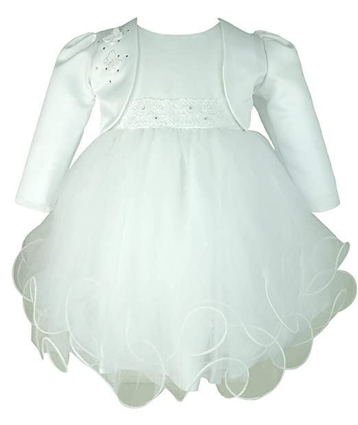 Vestido Bautizo de Blanco para Niña con Chaqueta de Bolero de Blanco de Frazer and James