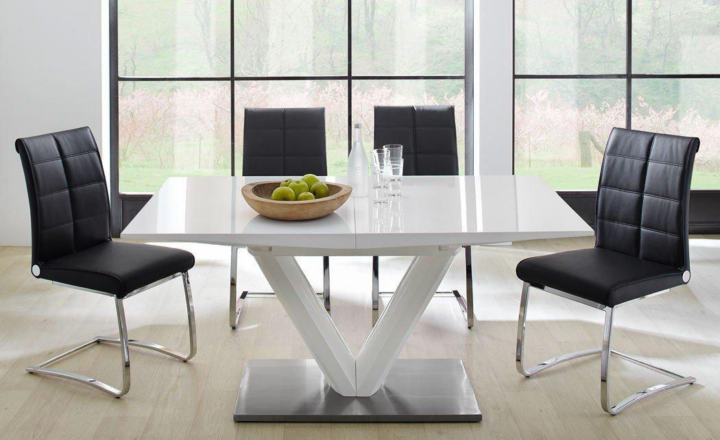Tischgruppe Tisch Vasco 160 bis 220x90x77 cm Hochglanz weiß Schwingstuhl Jasina schwarz Essgruppe Esszimmer Freischwinger
