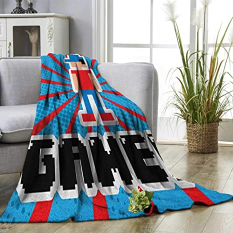 Amazon.com: Superlucky Video Games Throw Blanket Blue and ...