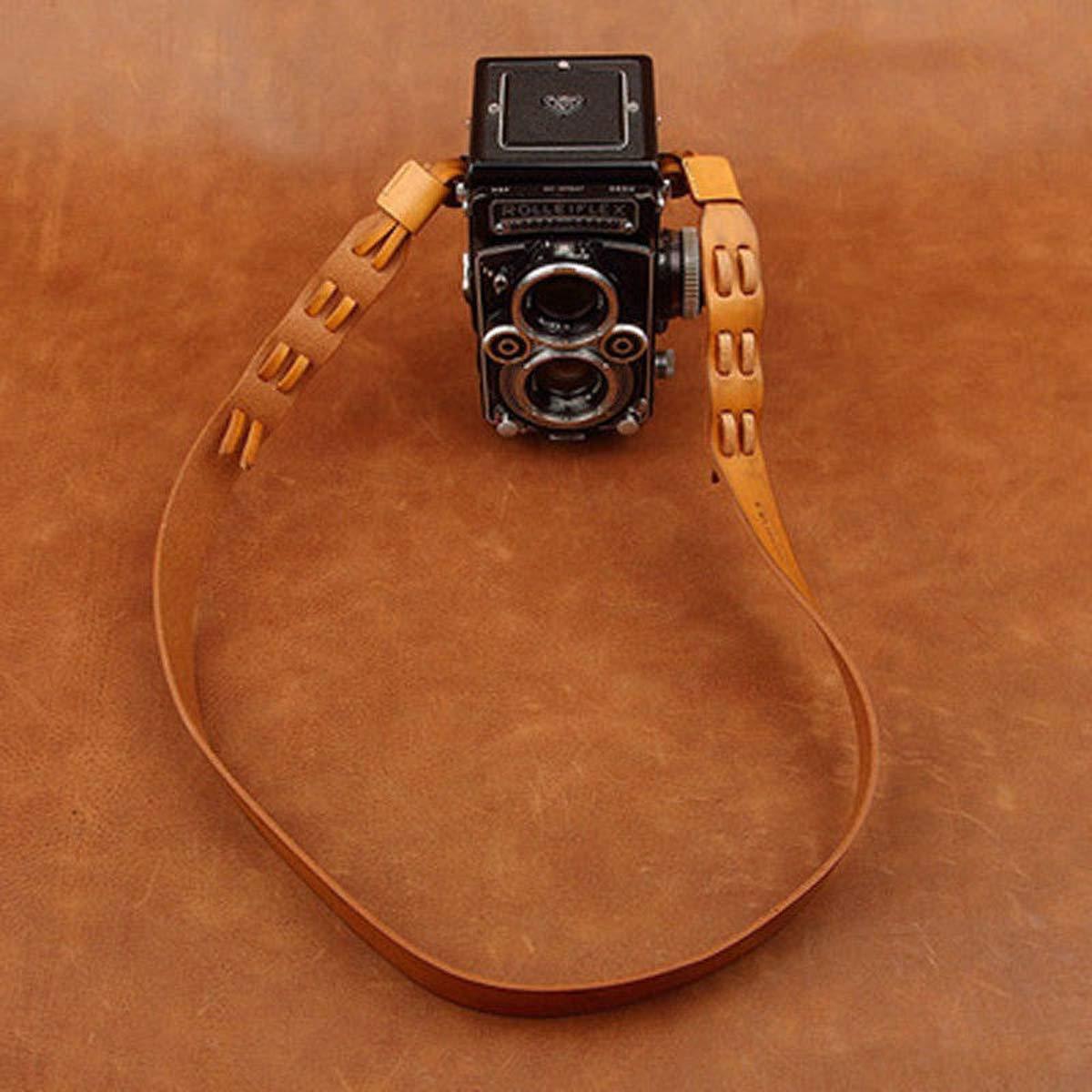 Rollei Rolleiflexカメラ用カムインアジャスタブル本革ショルダー/ネックストラップ - ブラウンカラー B07NTKHPLC