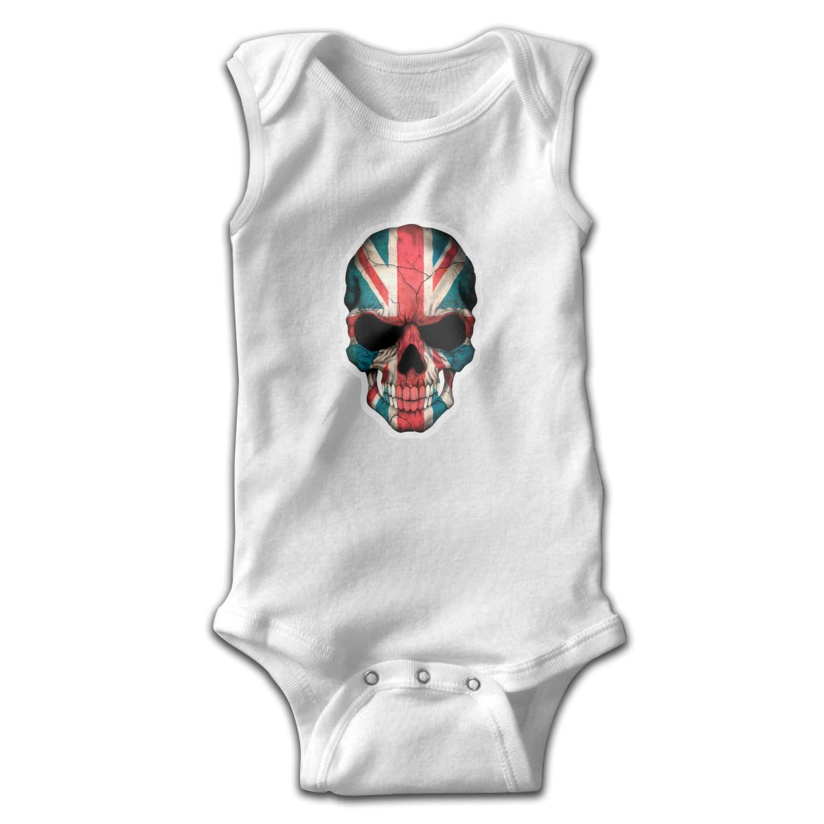 Dunpaiaa UK Flag Skull Newborn Crawling Suit Sleeveless Romper Bodysuit Onesies Jumpsuit Black
