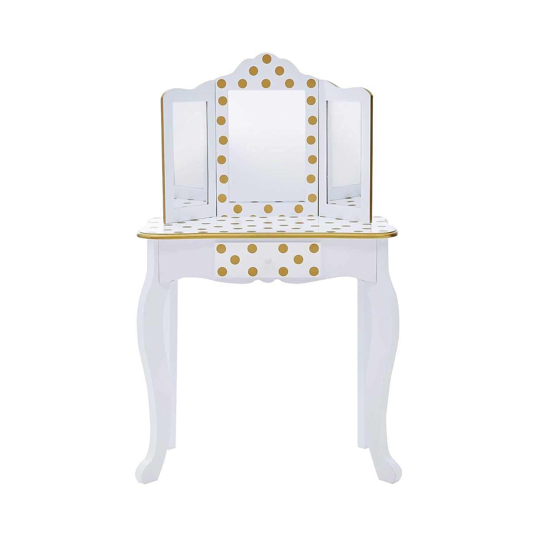 White//Gold Teamson Kids TD-11670M Gisele Childrens Girls Dressing Table Set
