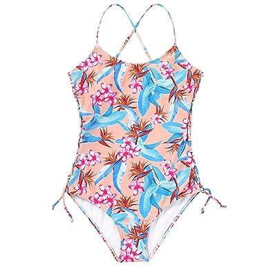 daca66aa5e82f One Piece Swimsuit WANQUIY Women's Floral Print Leaf Cut Flowers One-Piece  Swimsuit Beach Wear