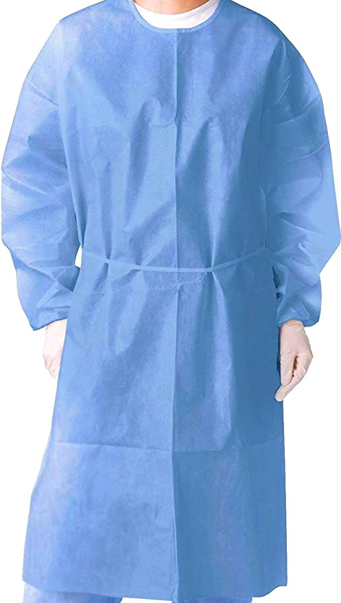 Disposable Isolation Gown Medical Lab Non-Woven Shirt One Size Splash Resistant 10 Count