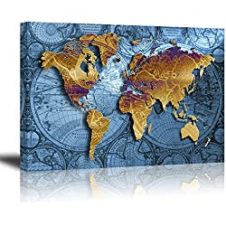 "World Map Wall Art for Bedroom, PIY HD Old Nautical Canvas Prints Decor, Retro Painting Home Decorations (1"" Thick Frame, Waterproof Artwork, Bracket Mounted Ready to Hang)"