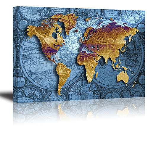 Map World Old Poster (PIY World Map Canvas Prints Wall Art Paintings, 16