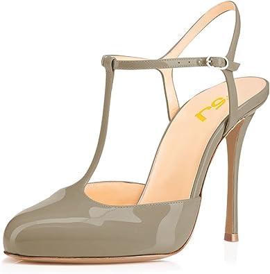 FSJ Women T Strap Sandals High Heels