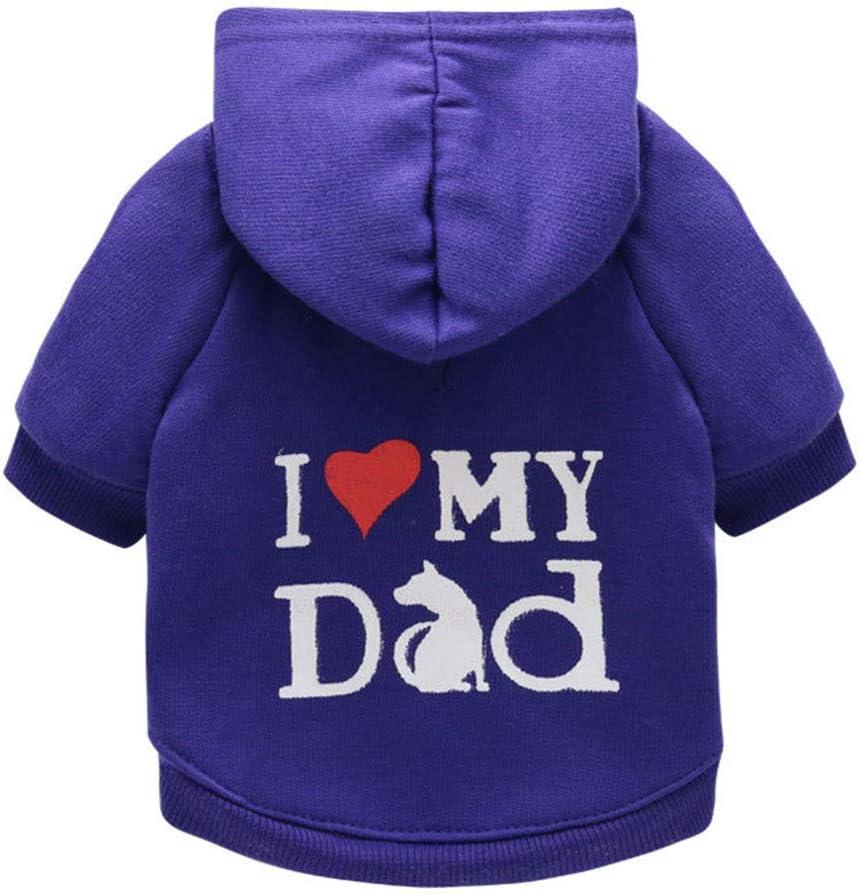 S-Blue Dog Fleece Sweater PrintedI Love My Dad Dogs Hoodies Sweatshirt Cat Costume Coat for Puppy Small Dog Medium Dog Pet Clothes